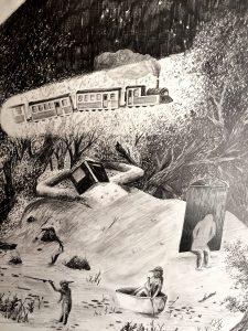 AU BORD DE NULLE PART / dessin 100/70cm